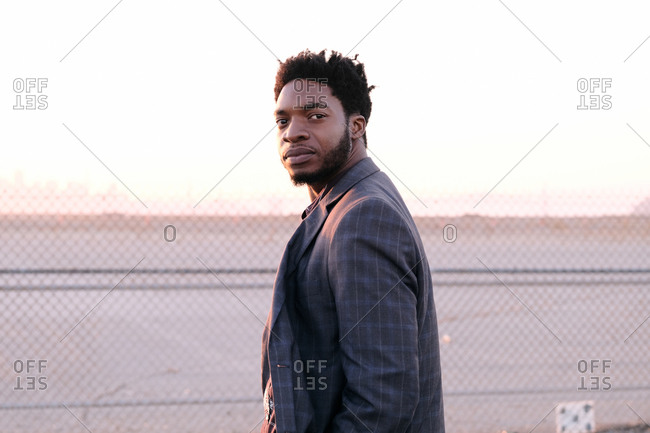 African American business man at sunset
