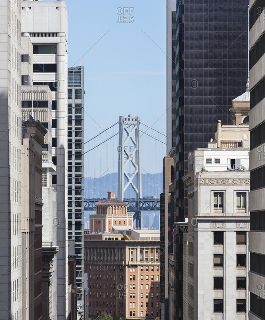 Building with Oakland Bay Bridge in background at San Francisco- California- USA