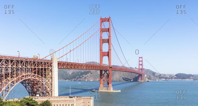 Golden Gate bridge over blue sea at San Francisco- California- USA