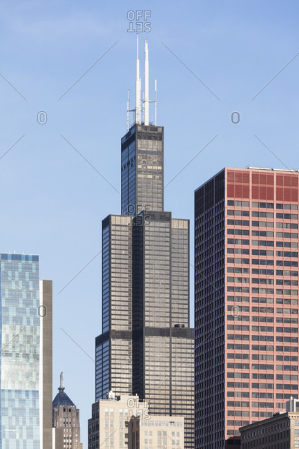April 21, 2017: Willis tower reaches towards blue sky in Chicago- USA