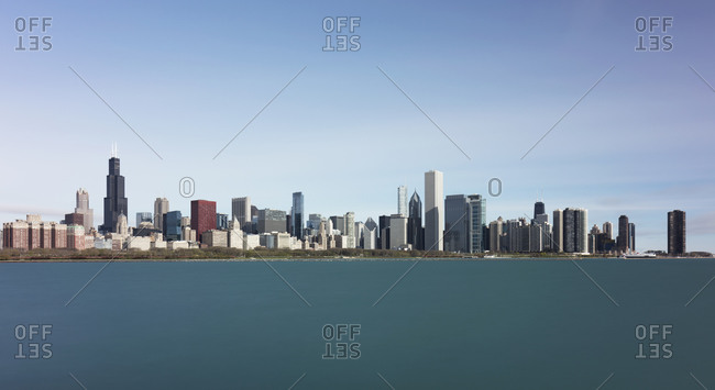 Downtown seen from Northerly Island against blue sky- Chicago- USA