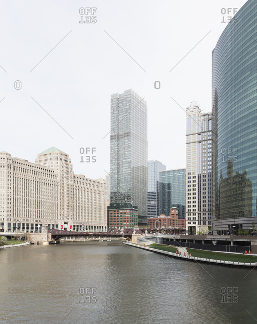 333 Wacker drive building by Chicago River in city- Chicago- USA