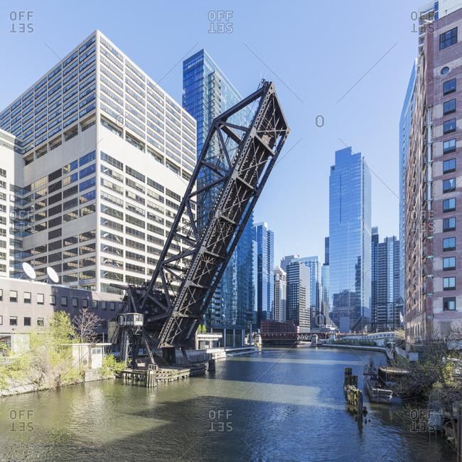 Chicago & Northwestern Railway Bridge over Chicago River on sunny day- Chicago- USA