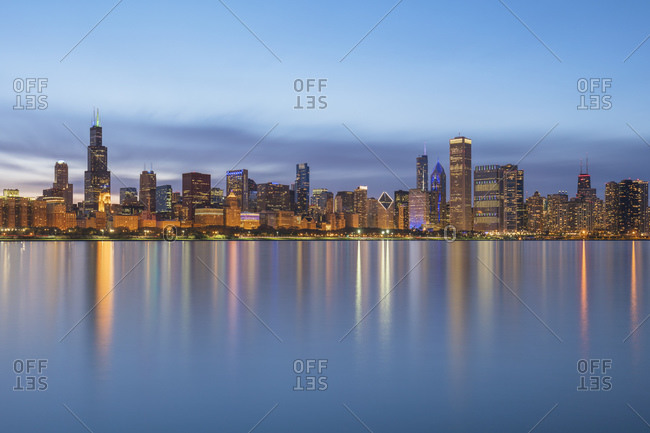 Downtown seen from Northerly Island park during dusk- Chicago- USA