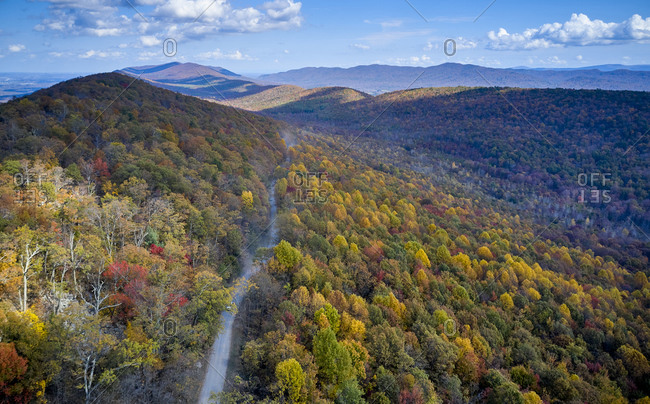 Aerial view of dirt road stretching in George Washington and Jefferson National Forests in autumn