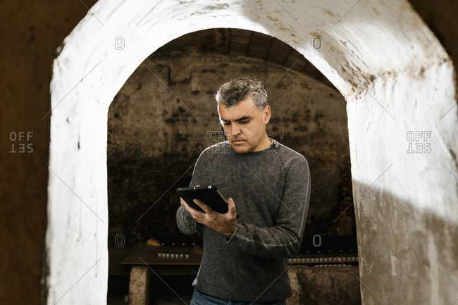 Mature man using digital tablet while standing at archway in cellar
