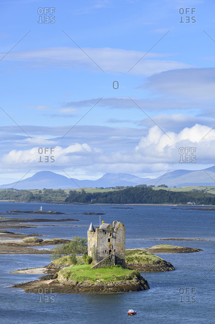 UK- Scotland- Aerial view of Castle Stalker and Loch Linnhe