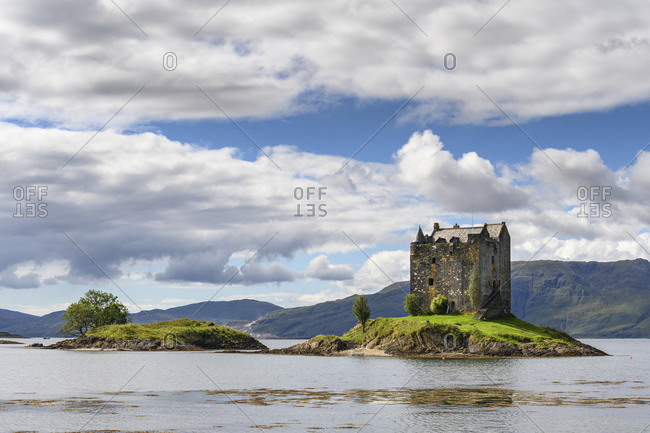 UK- Scotland- Aerial view of clouds over Castle Stalker and Loch Linnhe