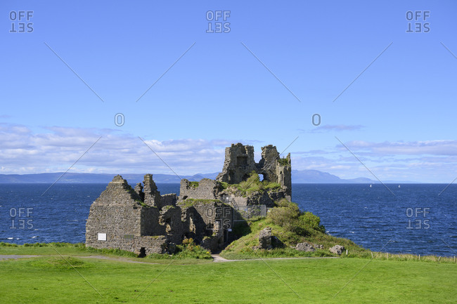 UK- Scotland- Ruins of Dunure Castle with Irish Sea in background