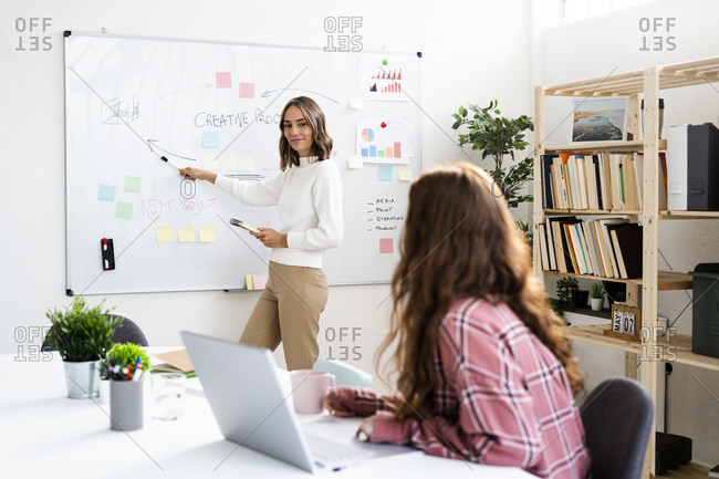 Businesswoman explaining business plan to colleague while standing by whiteboard at office