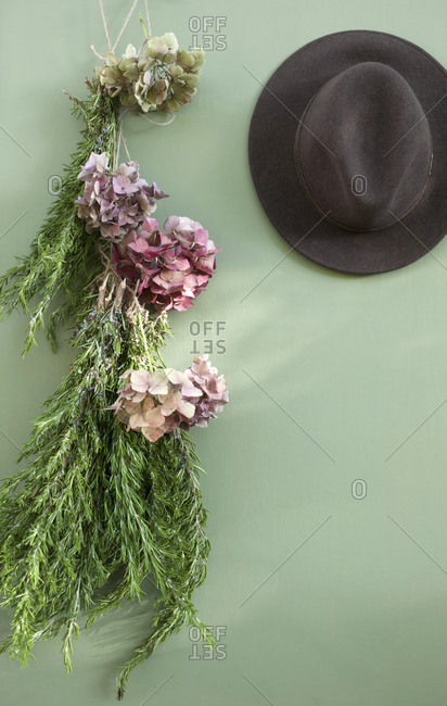Fedora and dried rosemary and hydrangeas hanging on green wall