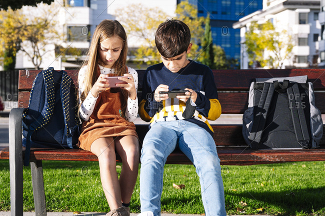 Brother and sister using smart phone while sitting on bench in public park during sunny day