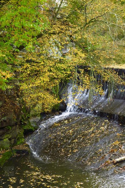 Waterfall along Malerweg trail in Elbe Sandstone Mountains