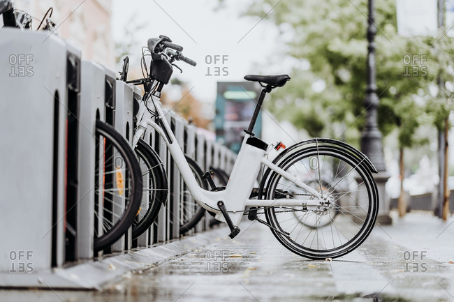 Bicycle placed in street bicycle rack