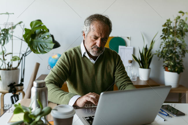 Mature man working on laptop while sitting at home