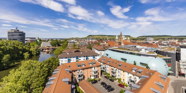 May 19, 2020: Germany- Baden-Wurttemberg- Heilbronn- Panorama of riverside city