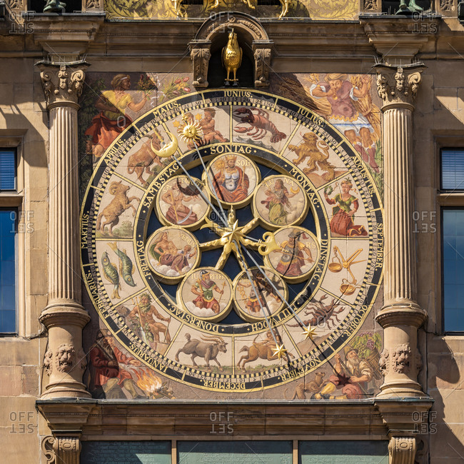 May 19, 2020: Germany- Baden-Wurttemberg- Heilbronn- Ornate astronomical clock of historical town hall