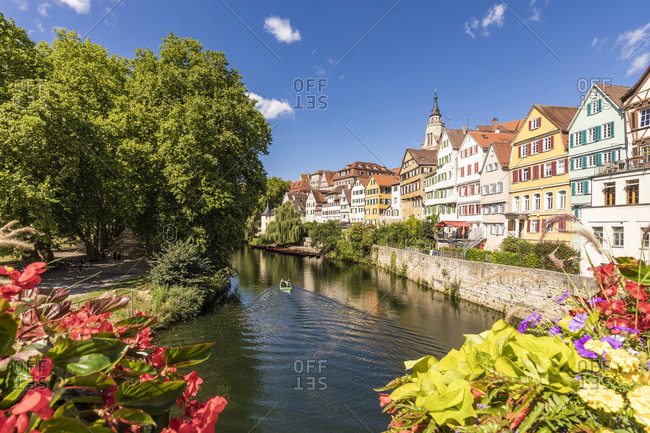 Germany- Baden-Wurttemberg- Tubingen- Neckar river canal with row of townhouses in background