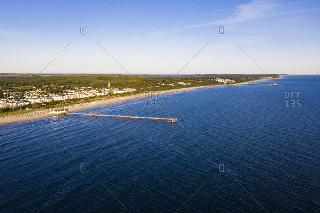 Germany- Mecklenburg-Western Pomerania- Heringsdorf- Aerial view of beach and coastal town at dawn