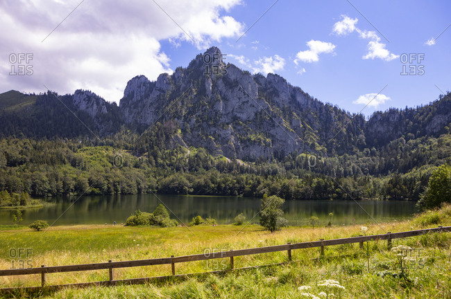 Laudachsee lake in summer with Grunberg mountain in background