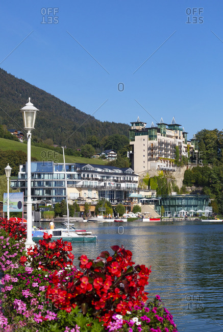 September 14, 2020: Austria- Upper Austria- Saint Wolfgang im Salzkammergut- Town on shore of Lake Wolfgangsee in summer
