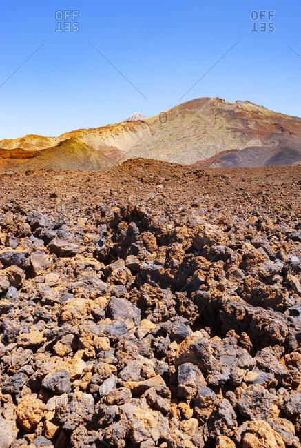 Brown volcanic landscape of Tenerife island