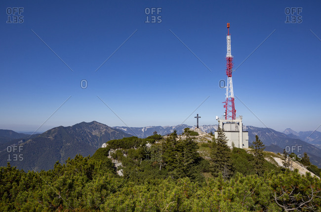 Austria- Upper Austria- Bad Ischl- Franz Josef Cross and communications tower on summit of Mount Katrin