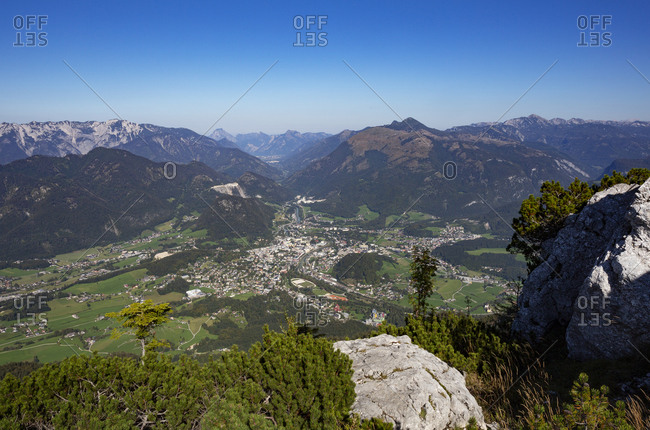 Austria- Upper Austria- Bad Ischl- Alpine town seen from summit of Mount Katrin in summer