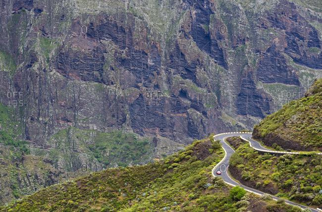 Winding road in Macizo de Teno range