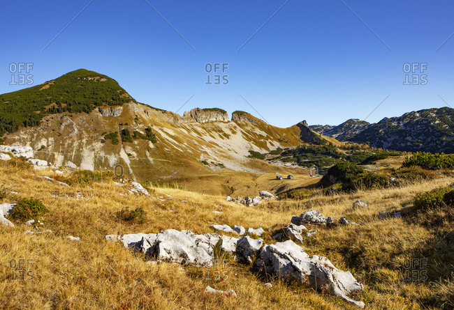 Scenic view of Loser Plateau on sunny day- Altaussee- Salzkammergut- Styria- Austria
