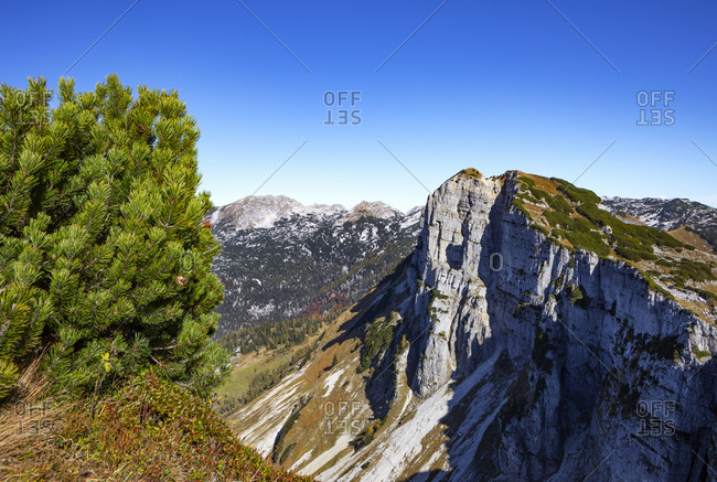 Rocky cliff of Totes Gebirge against clear blue sky- Altaussee- Salzkammergut- Styria- Austria