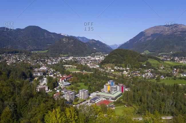 High angle view of town against clear blue sky- Salzkammergut- Austria