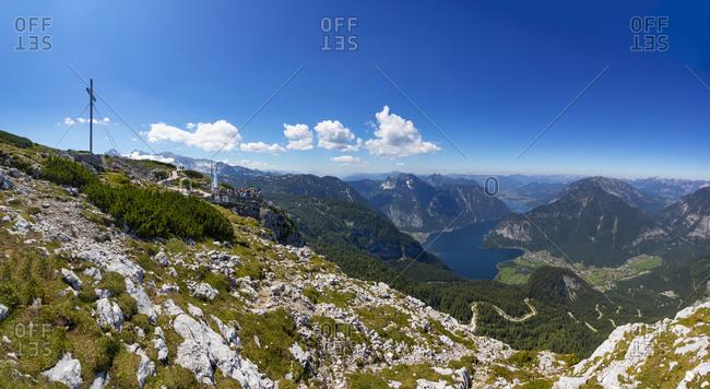Lake Hallstatt seen from Hoher Dachstein in summer with Heilbronner Cross in background