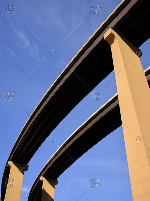 USA- West Virginia- Underside of U.S. Route 48 bridge stretching over Lost River