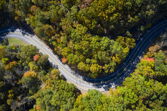 Aerial view of asphalt road winding through alpine forest in autumn