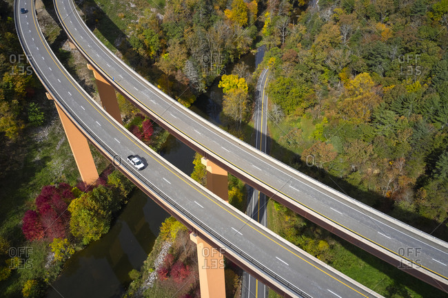 USA- West Virginia- Aerial view of U.S. Route 48 bridge stretching over Lost River in Appalachian Mountains