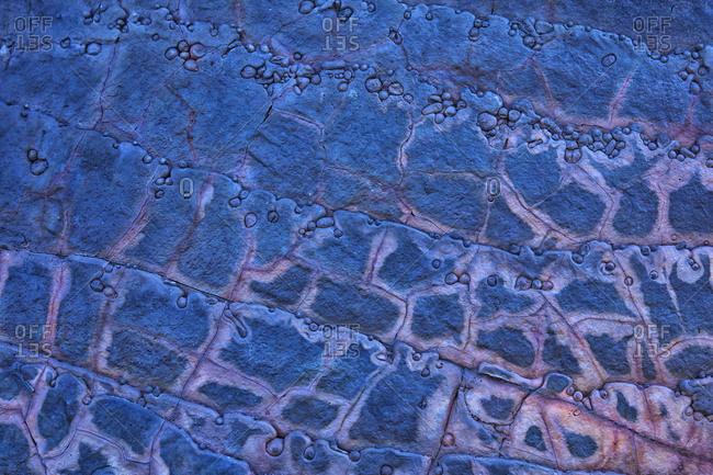 Spain- Huelva Province- Aerial view of blue barren landscape in Rio Tinto Mines area