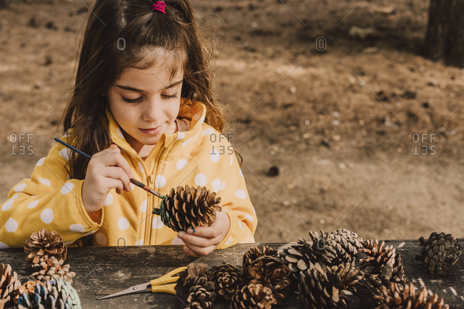 Cute girl decorating pine cone while coloring with paintbrush at table in park