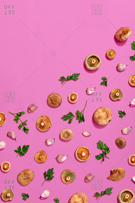 Pattern of mushroom- parsley and garlic assorted on pink background