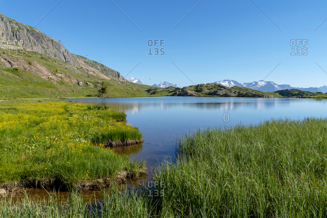 Scenic view of lake on sunny day