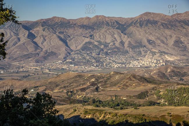Albania- Gjirokaster County- Ruins of ancient Greek city of Antigonia and surrounding mountains