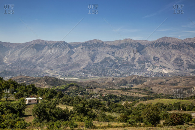 Albania-GjirokasterCounty- Ruins of ancient Greek city ofAntigoniaand surrounding mountains