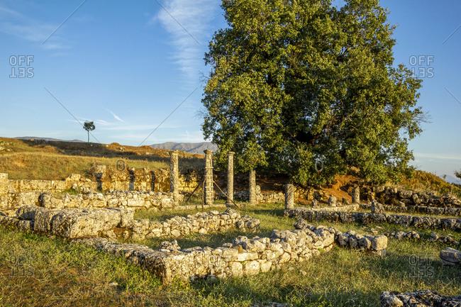 Albania- Gjirokaster County- Ruins of ancient Greek city of Antigonia at dusk