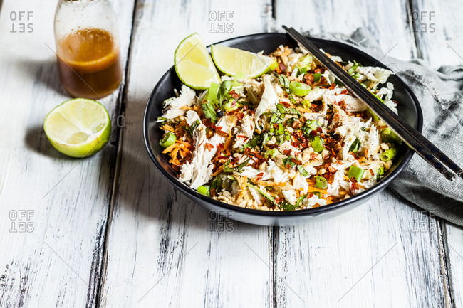 Vietnamese style chicken salad with shredded cabbage