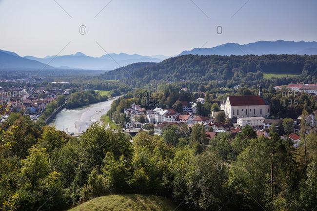 Germany- Bavaria- Bad Tolz- Riverside town in summer