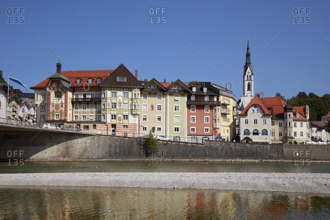 September 19, 2020: Germany- Bavaria- Bad Tolz- Riverside townhouses in summer