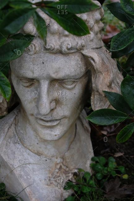 Stone sculpture of a man's head in a garden