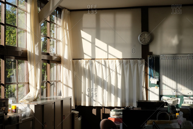 Wakayama, Japan - November 16, 2017: Sun shining through window in a school classroom