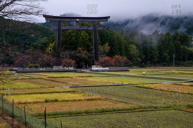 Wakayama, Japan - November 18, 2017: The entrance to Oyunohara marked by the largest Torii shrine gate in the world