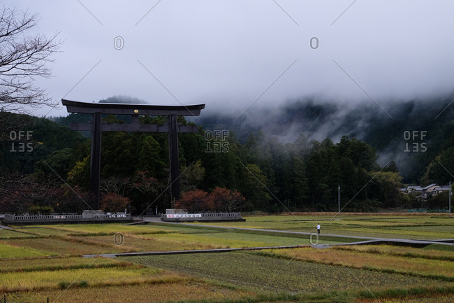 Wakayama, Japan - November 18, 2017: Cloudy sky over the entrance to Oyunohara marked by the largest Torii shrine gate in the world